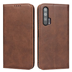 Leather Case Stands Flip Cover Holder for Huawei Honor 20 Pro Brown