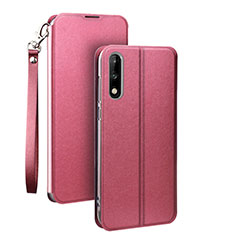 Leather Case Stands Flip Cover Holder for Huawei Honor 9X Pink