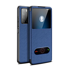 Leather Case Stands Flip Cover Holder for Huawei Honor Play4 5G Blue