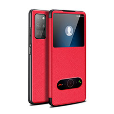 Leather Case Stands Flip Cover Holder for Huawei Honor Play4 Pro 5G Red