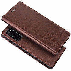 Leather Case Stands Flip Cover Holder for Huawei Honor View 30 5G Brown