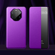 Leather Case Stands Flip Cover Holder for Huawei Mate 40 RS Purple