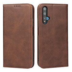 Leather Case Stands Flip Cover Holder for Huawei Nova 5T Brown
