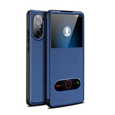 Leather Case Stands Flip Cover Holder for Huawei Nova 8 5G Blue