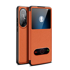 Leather Case Stands Flip Cover Holder for Huawei Nova 8 Pro 5G Brown
