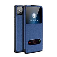 Leather Case Stands Flip Cover Holder for Huawei Nova 8 SE 5G Blue