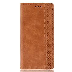 Leather Case Stands Flip Cover Holder for Huawei P Smart (2020) Brown