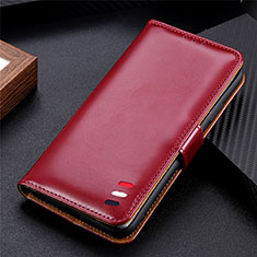Leather Case Stands Flip Cover Holder for Huawei P Smart (2021) Red Wine