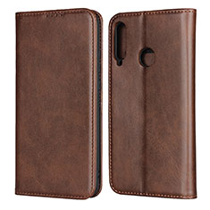 Leather Case Stands Flip Cover Holder for Huawei Y7p Brown
