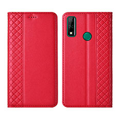 Leather Case Stands Flip Cover Holder for Huawei Y8s Red
