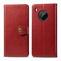 Leather Case Stands Flip Cover Holder for Huawei Y9a Red