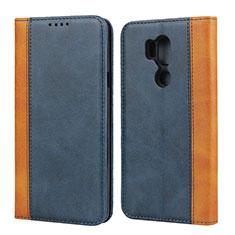 Leather Case Stands Flip Cover Holder for LG G7 Blue
