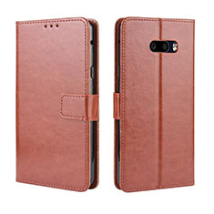 Leather Case Stands Flip Cover Holder for LG G8X ThinQ Brown