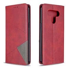 Leather Case Stands Flip Cover Holder for LG K51 Red