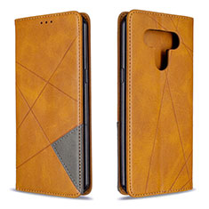 Leather Case Stands Flip Cover Holder for LG K51 Yellow