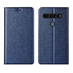 Leather Case Stands Flip Cover Holder for LG K51S Blue