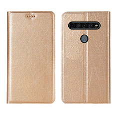 Leather Case Stands Flip Cover Holder for LG K51S Gold