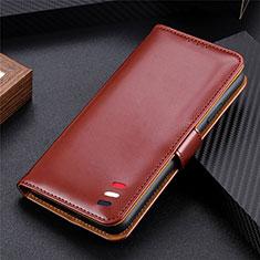Leather Case Stands Flip Cover Holder for LG K52 Brown