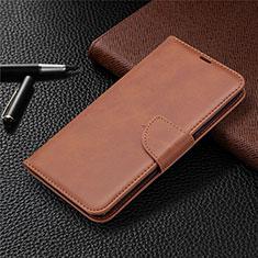 Leather Case Stands Flip Cover Holder for LG K61 Brown