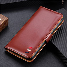 Leather Case Stands Flip Cover Holder for LG Q52 Brown