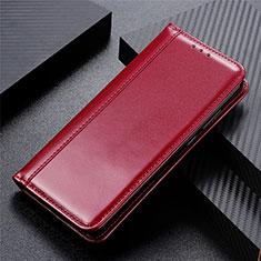 Leather Case Stands Flip Cover Holder for LG Velvet 4G Red Wine
