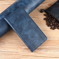 Leather Case Stands Flip Cover Holder for Motorola Moto Edge Blue