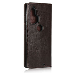 Leather Case Stands Flip Cover Holder for Motorola Moto Edge Plus Brown