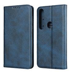 Leather Case Stands Flip Cover Holder for Motorola Moto G8 Plus Blue