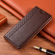 Leather Case Stands Flip Cover Holder for Motorola Moto G9 Brown