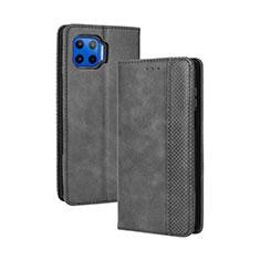 Leather Case Stands Flip Cover Holder for Motorola Moto One 5G Black