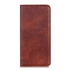 Leather Case Stands Flip Cover Holder for Motorola Moto One Fusion Plus Brown