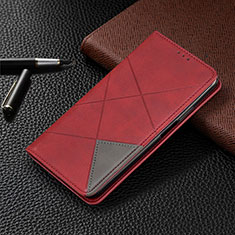 Leather Case Stands Flip Cover Holder for Motorola Moto One Zoom Red