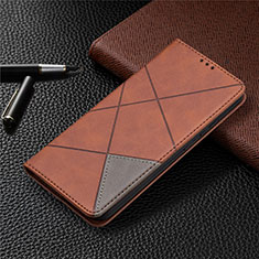 Leather Case Stands Flip Cover Holder for Nokia 3.4 Brown