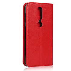 Leather Case Stands Flip Cover Holder for Nokia 4.2 Red