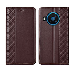 Leather Case Stands Flip Cover Holder for Nokia 8.3 5G Brown