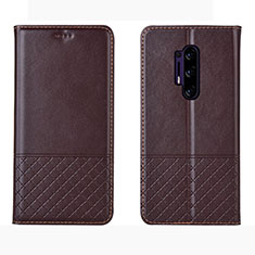 Leather Case Stands Flip Cover Holder for OnePlus 8 Pro Brown