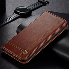 Leather Case Stands Flip Cover Holder for Oppo A12 Brown