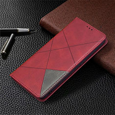 Leather Case Stands Flip Cover Holder for Oppo A15 Red