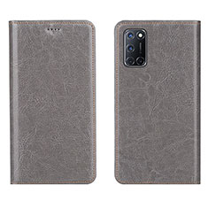 Leather Case Stands Flip Cover Holder for Oppo A52 Gray
