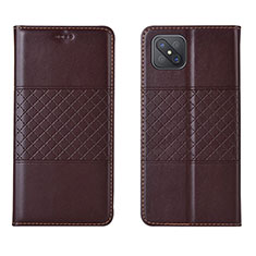 Leather Case Stands Flip Cover Holder for Oppo A92s 5G Brown