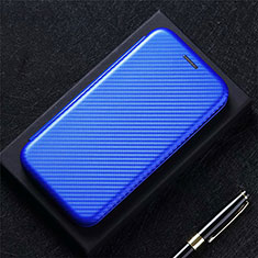Leather Case Stands Flip Cover Holder for Oppo F17 Blue