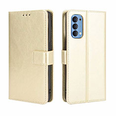 Leather Case Stands Flip Cover Holder for Oppo Reno4 4G Gold