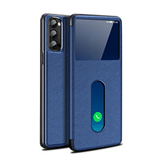 Leather Case Stands Flip Cover Holder for Oppo Reno4 5G Blue