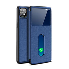 Leather Case Stands Flip Cover Holder for Oppo Reno4 SE 5G Blue