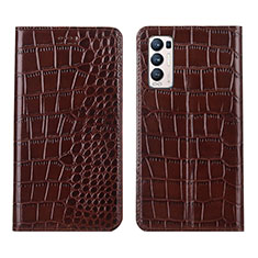 Leather Case Stands Flip Cover Holder for Oppo Reno5 Pro+ Plus 5G Brown