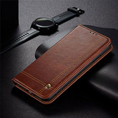 Leather Case Stands Flip Cover Holder for Realme 5 Pro Brown