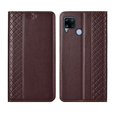 Leather Case Stands Flip Cover Holder for Realme C15 Brown