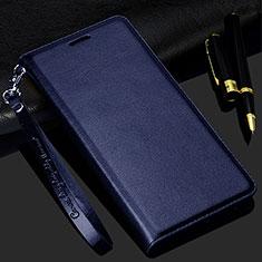 Leather Case Stands Flip Cover Holder for Realme C3 Blue