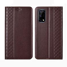 Leather Case Stands Flip Cover Holder for Realme V5 5G Brown