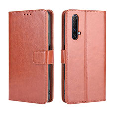 Leather Case Stands Flip Cover Holder for Realme X3 Brown